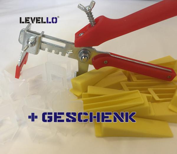Starterset XL Nivellieren Sie Fliesenstärke von 13 bis 20mm und Fugenbreiten von 1-3mm, clips lang